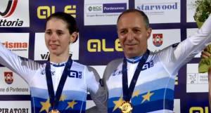Cordiano Dagnoni con Marta Cavalli con la maglia di Campioni Europei davanti a Olanda e Germania