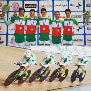 Stefano Oldani ed il team Lombardia Campioni Inseguimento