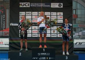 Olga Cappiello sul gardino più alto del podio con la maglia iridata e col presidente del team De Rosa Santini Andrea Capelli